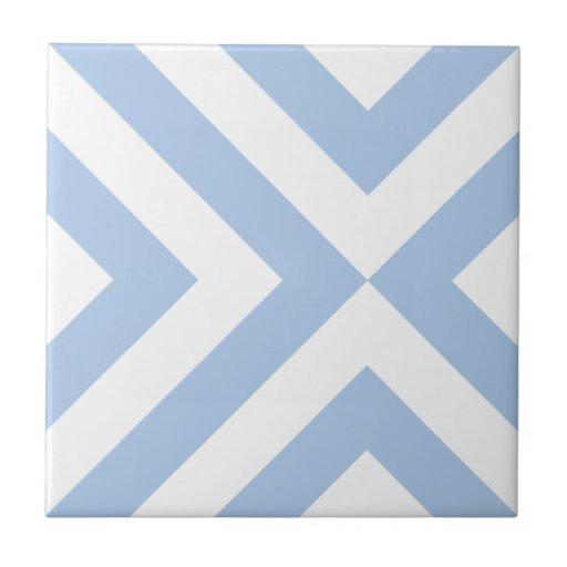 Galones azules claros y blancos azulejo cuadrado pequeño