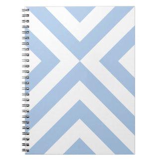 Galones azules claros y blancos libro de apuntes con espiral