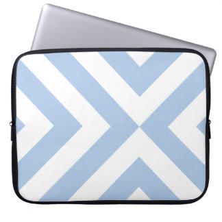 Galones azules claros y blancos manga portátil