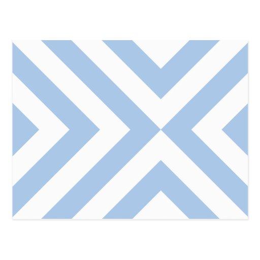 Galones azules claros y blancos tarjetas postales
