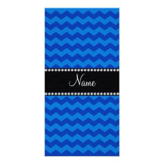 Galones azules conocidos personalizados tarjeta fotografica