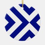 Galones azules y blancos adorno