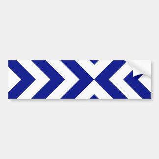 Galones azules y blancos etiqueta de parachoque