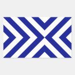 Galones azules y blancos rectangular pegatinas
