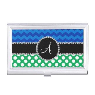 Galones blancos verdes del azul de los lunares del caja de tarjetas de presentación