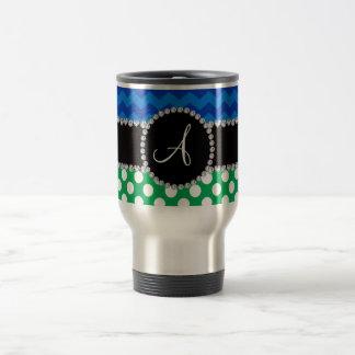 Galones blancos verdes del azul de los lunares del taza de viaje de acero inoxidable