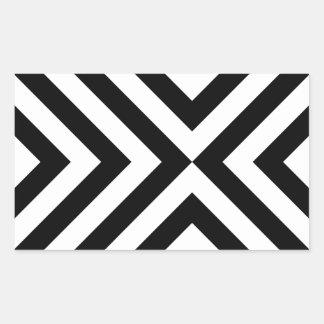 Galones blancos y negros rectangular pegatina