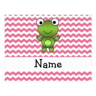 Galones blancos y rosados de la rana conocida pers tarjetas postales