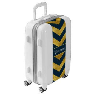 Galones con clase del oro y de los azules marinos maletas