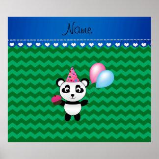Galones conocidos de encargo del verde de la panda poster