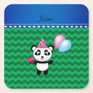 Galones conocidos de encargo del verde de la panda posavasos desechable cuadrado