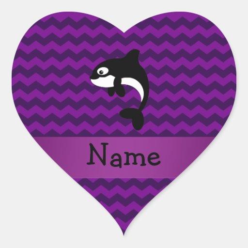 Galones conocidos personalizados de la púrpura de pegatina corazon