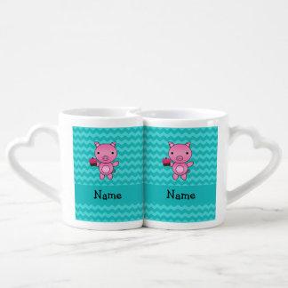 Galones conocidos personalizados de la turquesa de taza para enamorados