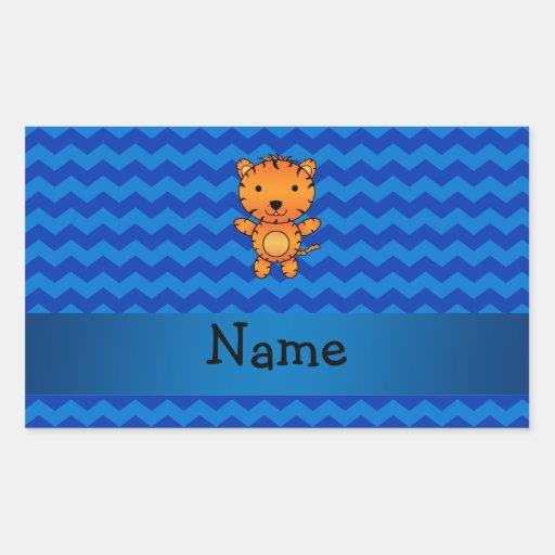 Galones conocidos personalizados del azul del pegatina rectangular