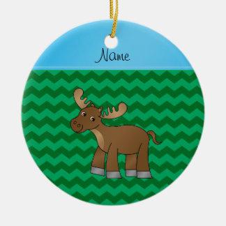 Galones conocidos personalizados del verde de los adorno navideño redondo de cerámica