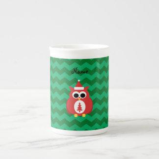 Galones conocidos personalizados del verde del búh tazas de porcelana