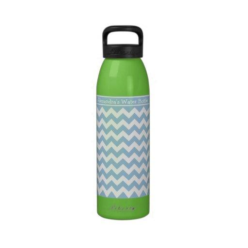 Galones de encargo de la botella de agua, azules y