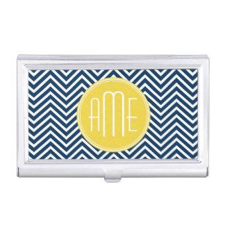 Galones de los azules marinos con el monograma caja de tarjetas de presentación