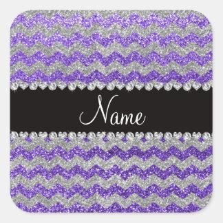 Galones de plata púrpuras conocidos de encargo del pegatinas cuadradases personalizadas