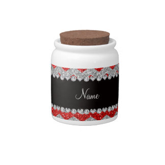 Galones de plata rojos de neón conocidos de encarg platos para caramelos