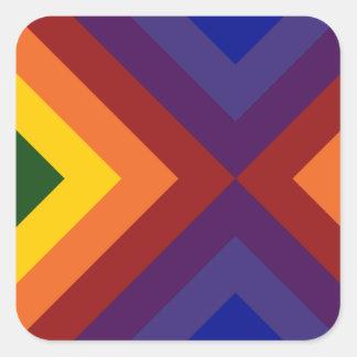 Galones del arco iris pegatina cuadrada