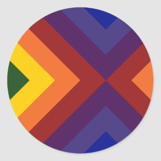 Galones del arco iris pegatina redonda