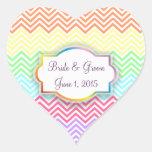 Galones del arco iris que casan a los pegatinas calcomanía de corazón personalizadas