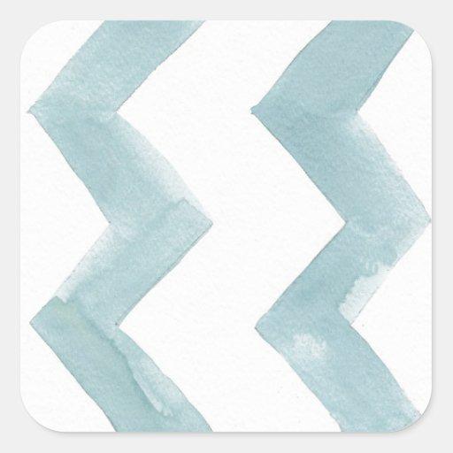 Galones del azul de la curación de la acuarela calcomanía cuadradas personalizadas