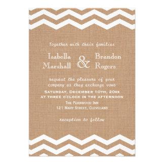 Galones en la invitación del boda de la arpillera