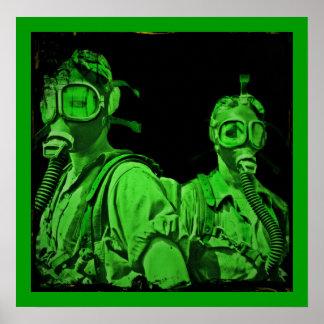 Galones en las caretas antigás verdes de neón póster