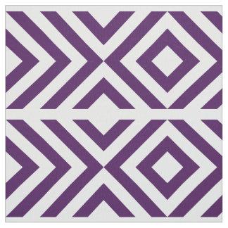 Galones geométricos y diamantes púrpuras y blancos telas