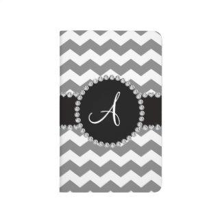 Galones grises blancos cones monograma cuadernos grapados