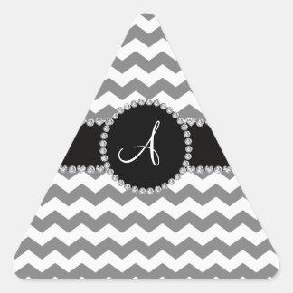 Galones grises blancos cones monograma pegatina de trianguladas