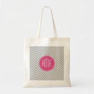 Galones grises y rosados con el monograma de encar bolsa tela barata