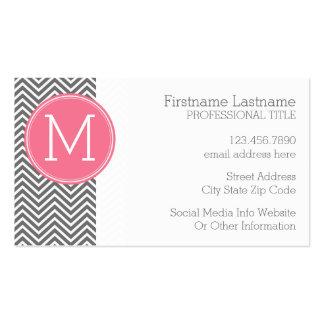 Galones grises y rosados con el monograma de plantilla de tarjeta de visita