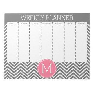Galones grises y rosados del planificador semanal blocs de papel