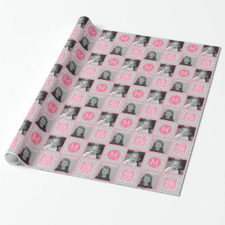 Galones grises y rosados - foto y monograma papel de regalo