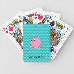 Galones lindos de la turquesa del cerdo barajas de cartas