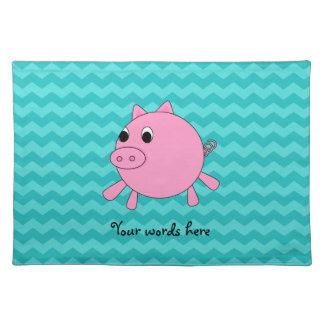 Galones lindos de la turquesa del cerdo manteles individuales