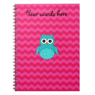 Galones lindos del rosa del búho notebook