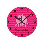 Galones lindos del rosa del cerdo relojes de pared