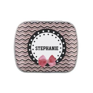 Galones lindos, puntos, y Z39 rosado y negro del Latas De Caramelos