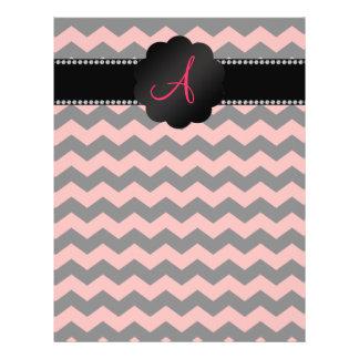 Galones negros rosados coralinos del monograma tarjetón