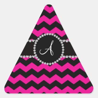 Galones negros rosados de neón cones monograma calcomanía de triangulo personalizadas