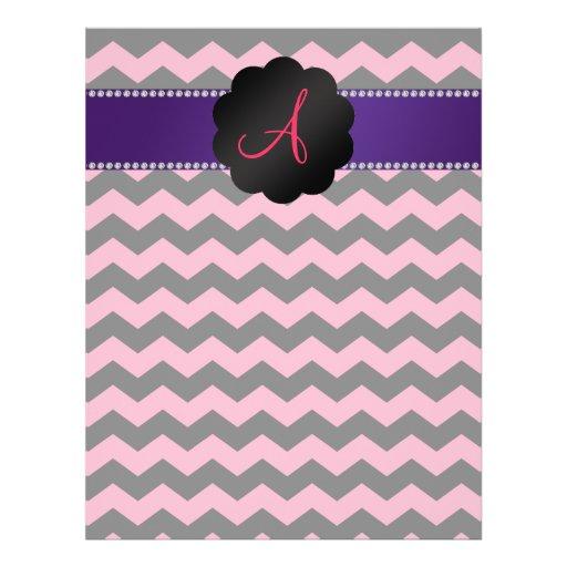 """Galones negros rosados del monograma folleto 8.5"""" x 11"""""""