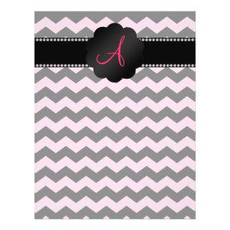 Galones negros rosas claros del monograma tarjetas informativas