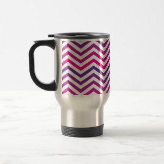 Galones púrpuras rosados del zigzag taza de viaje de acero inoxidable