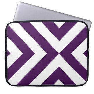 Galones púrpuras y blancos fundas portátiles