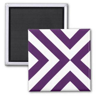 Galones púrpuras y blancos imán cuadrado
