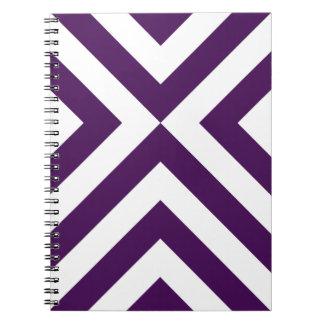 Galones púrpuras y blancos libreta espiral